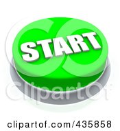 Royalty Free RF Clipart Illustration Of A 3d Green Start Push Button by Jiri Moucka