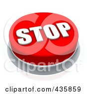 Royalty Free RF Clipart Illustration Of A 3d Red Stop Push Button