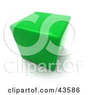 Clipart Illustration Of A 3d Green Cubic Chair