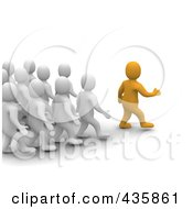 Royalty Free RF Clipart Illustration Of A 3d Anaranjado Orange Man Leader Walking In Front Of A Group Of Blanco White Men