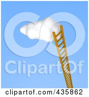 3d Ladder Leaning Up Against A Puffy White Cloud In The Sky