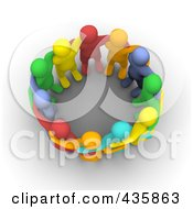 Group Of Colorful 3d Men Huddled In A Circle