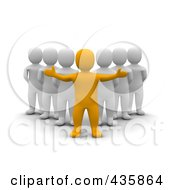 Royalty Free RF Clipart Illustration Of A 3d Anaranjado Orange Man Leader Standing In Front Of A Group Of Blanco White Men