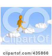 Royalty Free RF Clipart Illustration Of A 3d Anaranjado Orange Man Walking Up Cloud Steps In A Blue Sky