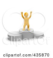 Royalty Free RF Clipart Illustration Of A 3d Anaranjado Orange Man Standing On A Platform