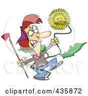 Angry Woman Pulling A Giant Dandelion Weed