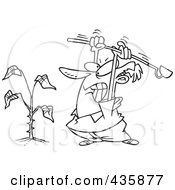 Royalty Free RF Clipart Illustration Of A Line Art Design Of An Angry Man Beating A Weed