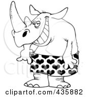 Royalty Free RF Clipart Illustration Of A Line Art Design Of A Rhino In Loose Heart Boxers