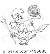 Royalty Free RF Clipart Illustration Of A Line Art Design Of An Angry Woman Pulling A Giant Dandelion Weed