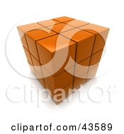 3d Completed Orange Puzzle Cube