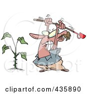 Royalty Free RF Clipart Illustration Of An Angry Mad Beating A Weed by toonaday