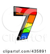 Royalty Free RF Clipart Illustration Of A 3d Rainbow Symbol Number 7 by chrisroll