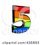 Royalty Free RF Clipart Illustration Of A 3d Rainbow Symbol Number 5 by chrisroll