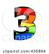 Royalty Free RF Clipart Illustration Of A 3d Rainbow Symbol Number 3 by chrisroll