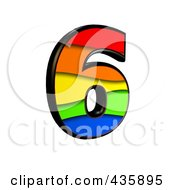 Royalty Free RF Clipart Illustration Of A 3d Rainbow Symbol Number 6 by chrisroll