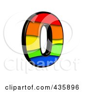 Royalty Free RF Clipart Illustration Of A 3d Rainbow Symbol Number 0 by chrisroll