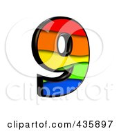 Royalty Free RF Clipart Illustration Of A 3d Rainbow Symbol Number 9 by chrisroll
