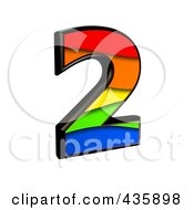 Royalty Free RF Clipart Illustration Of A 3d Rainbow Symbol Number 2 by chrisroll