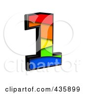 Royalty Free RF Clipart Illustration Of A 3d Rainbow Symbol Number 1 by chrisroll