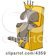 King Dog Wearing A Gold Crown And Sitting In A Golden Chair Clipart