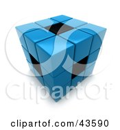 Clipart Illustration Of A 3d Blue And Black Puzzle Cube by Frank Boston