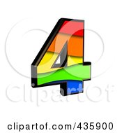 Royalty Free RF Clipart Illustration Of A 3d Rainbow Symbol Number 4 by chrisroll