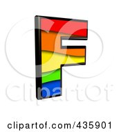 Royalty Free RF Clipart Illustration Of A 3d Rainbow Symbol Capital Letter F by chrisroll
