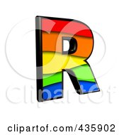 Royalty Free RF Clipart Illustration Of A 3d Rainbow Symbol Capital Letter R by chrisroll
