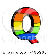 Royalty Free RF Clipart Illustration Of A 3d Rainbow Symbol Capital Letter Q by chrisroll