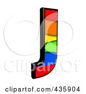 Royalty Free RF Clipart Illustration Of A 3d Rainbow Symbol Capital Letter J by chrisroll