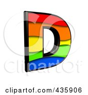 Royalty Free RF Clipart Illustration Of A 3d Rainbow Symbol Capital Letter D by chrisroll