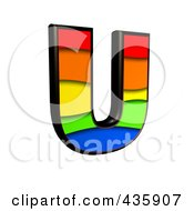 Royalty Free RF Clipart Illustration Of A 3d Rainbow Symbol Capital Letter U by chrisroll
