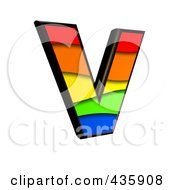 Royalty Free RF Clipart Illustration Of A 3d Rainbow Symbol Capital Letter V by chrisroll