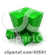 Clipart Illustration Of A 3d Green Puzzle Cube