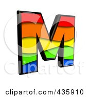 Royalty Free RF Clipart Illustration Of A 3d Rainbow Symbol Capital Letter M by chrisroll