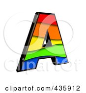 Royalty Free RF Clipart Illustration Of A 3d Rainbow Symbol Capital Letter A by chrisroll