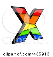 Royalty Free RF Clipart Illustration Of A 3d Rainbow Symbol Capital Letter X by chrisroll