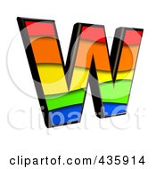 Royalty Free RF Clipart Illustration Of A 3d Rainbow Symbol Capital Letter W by chrisroll
