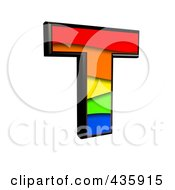 Royalty Free RF Clipart Illustration Of A 3d Rainbow Symbol Capital Letter T by chrisroll