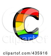 Royalty Free RF Clipart Illustration Of A 3d Rainbow Symbol Capital Letter C by chrisroll
