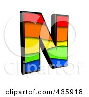 Royalty Free RF Clipart Illustration Of A 3d Rainbow Symbol Capital Letter N by chrisroll