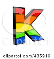 Royalty Free RF Clipart Illustration Of A 3d Rainbow Symbol Capital Letter K by chrisroll