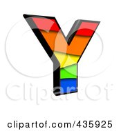 3d Rainbow Symbol Capital Letter Y