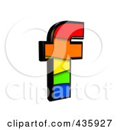 Royalty Free RF Clipart Illustration Of A 3d Rainbow Symbol Lowercase Letter F