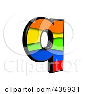 Royalty Free RF Clipart Illustration Of A 3d Rainbow Symbol Lowercase Letter Q