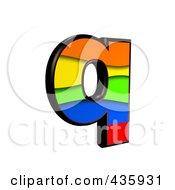 3d Rainbow Symbol Lowercase Letter Q by chrisroll