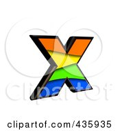 Royalty Free RF Clipart Illustration Of A 3d Rainbow Symbol Lowercase Letter X