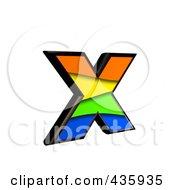 3d Rainbow Symbol Lowercase Letter X by chrisroll