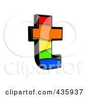 3d Rainbow Symbol Lowercase Letter T by chrisroll