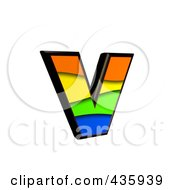 Royalty Free RF Clipart Illustration Of A 3d Rainbow Symbol Lowercase Letter V